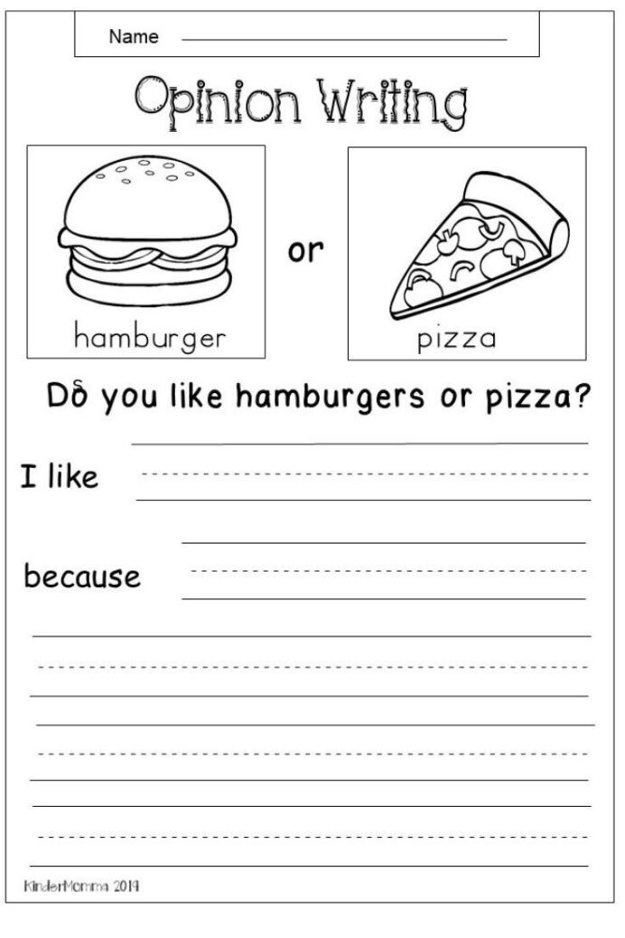 Writing Worksheets First Grade Free Opinion Writing Worksheet First Grade Kindergarten