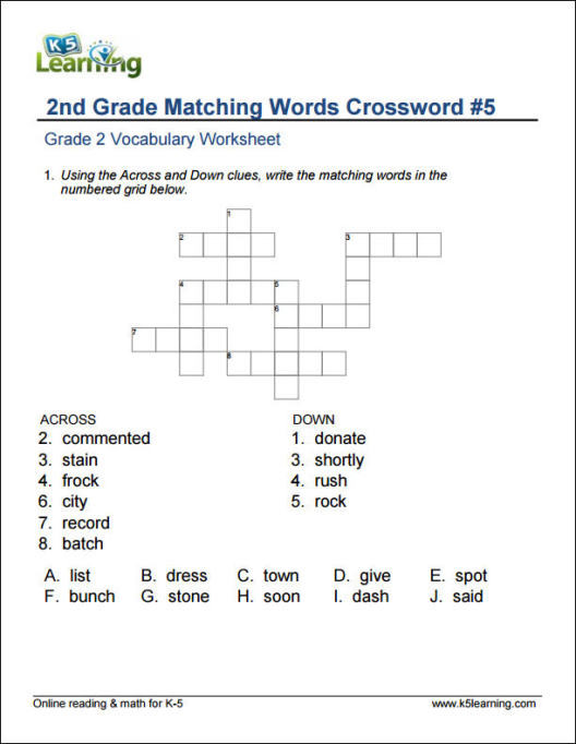2nd Grade Vocabulary Worksheet 2nd Grade Vocabulary Worksheets by K5 Learning