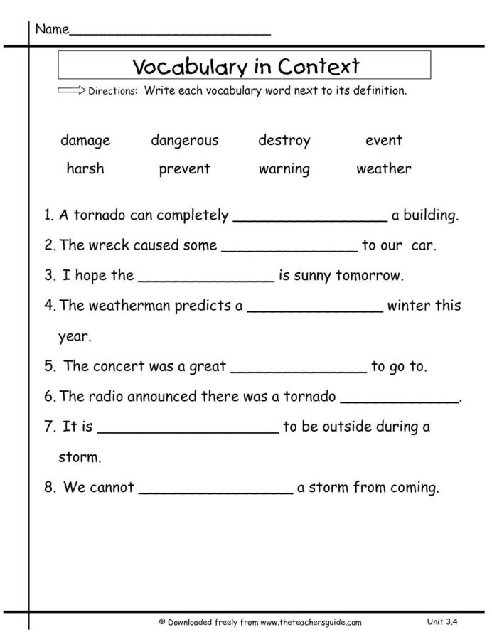 2nd Grade Vocabulary Worksheet 3rd Grade Vocabulary Worksheets for Educations 2nd Two Step