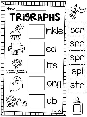 3 Letter Blends Worksheets Kids Look at the Picture to Finish the 3 Letter Blends Words
