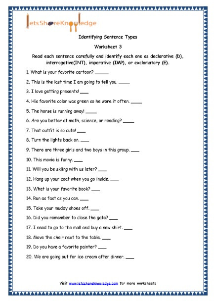 4 Types Of Sentences Worksheet Grade 4 English Resources Printable Worksheets topic 4