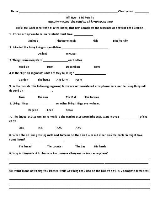 6 3 Biodiversity Worksheet Answers Pin On Bill Nye the Science Guy Video Follow A Long Sheets