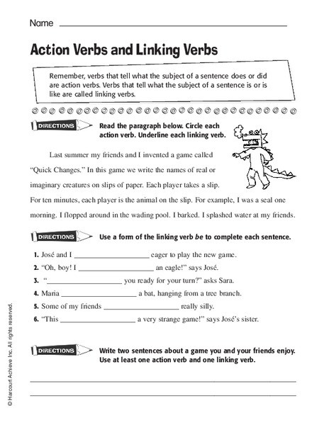 Action and Linking Verbs Worksheet Action Verb and Linking Verb Worksheet Grade 4 لم يسبق له