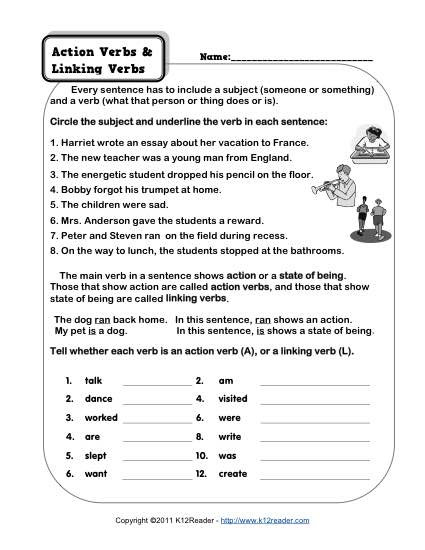 Action and Linking Verbs Worksheet Action Verb and Linking Verb Worksheets