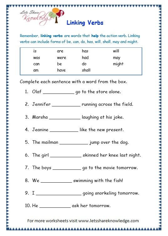 Action and Linking Verbs Worksheet Grade 3 Grammar topic 14 Helping Verbs Worksheets