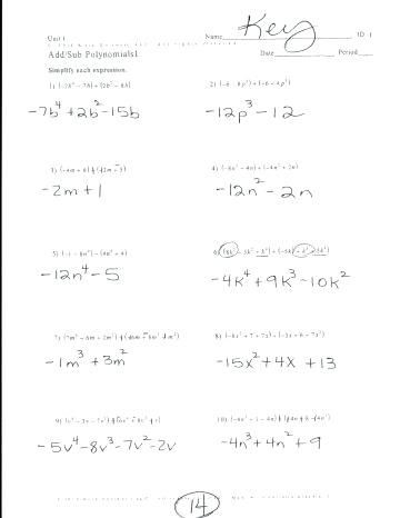 Adding Subtracting Polynomials Worksheet Adding and Subtracting Polynomials Worksheet Check More at