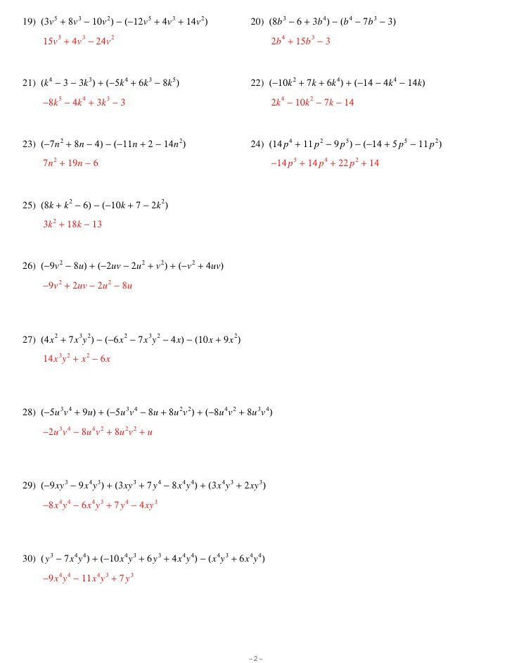 Adding Subtracting Polynomials Worksheet Adding Subtracting Polynomials