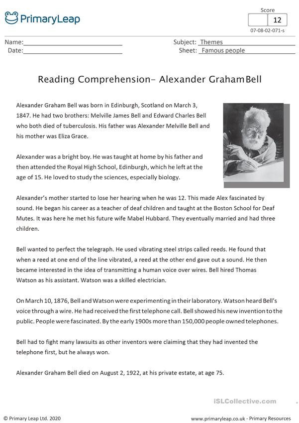 Alexander the Great Worksheet Alexander Graham Bell Reading Prehension English Esl