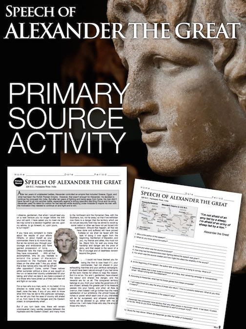 Alexander the Great Worksheet Alexander the Great Primary source Worksheet Greece