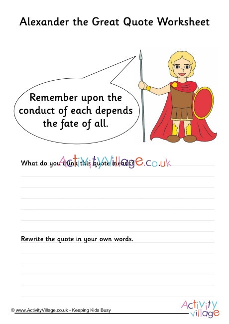 Alexander the Great Worksheet Alexander the Great Quote Worksheet 1