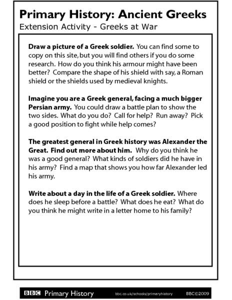 Alexander the Great Worksheet Primary History Extension Activity Greeks at War Worksheet