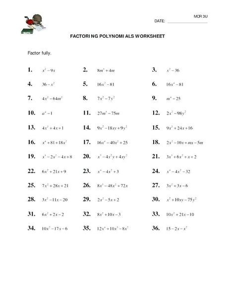 Algebra 1 Factoring Worksheet 28 Factoring Polynomials Practice Worksheet with Answers