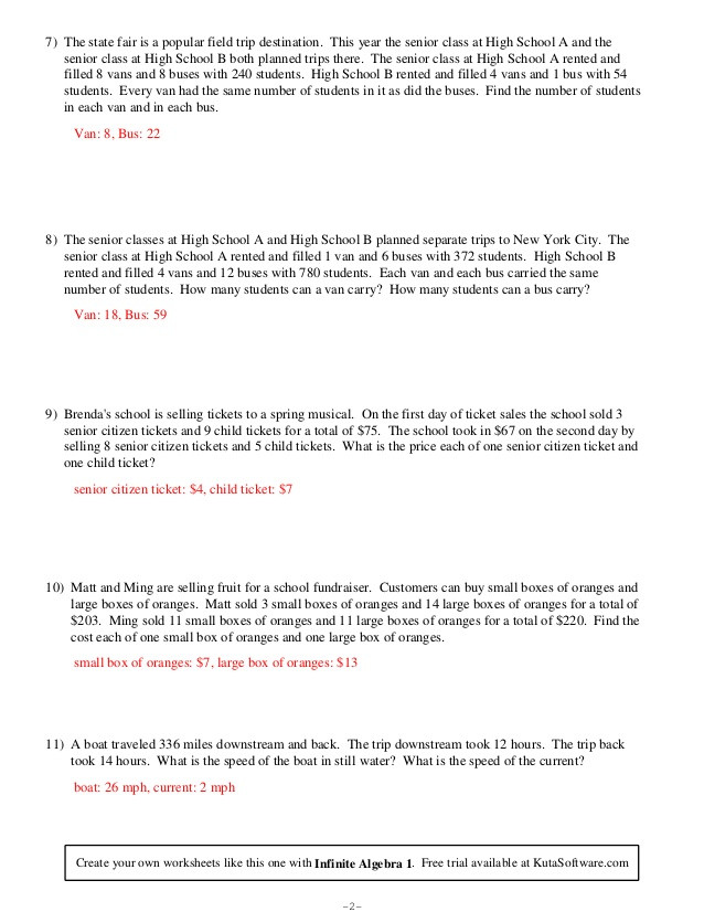 Algebra 2 Word Problems Worksheet Systems Equations Word Problems Worksheet Infinite