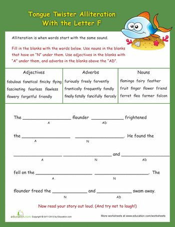"""Alliteration Worksheets for Middle School Advanced Alliteration tongue Twisters """"f"""""""