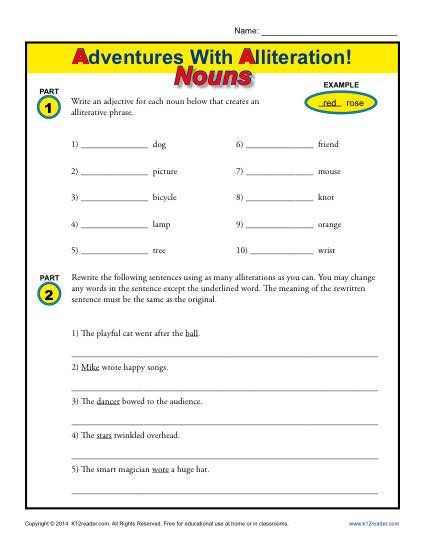 Alliteration Worksheets for Middle School Alliteration and Nouns
