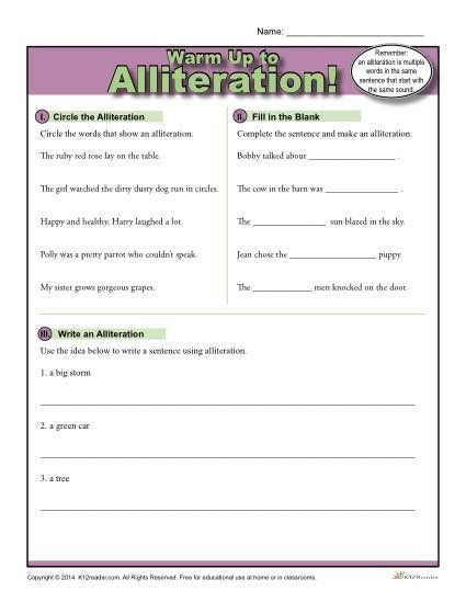 Alliteration Worksheets for Middle School Alliteration Warm Up Activity