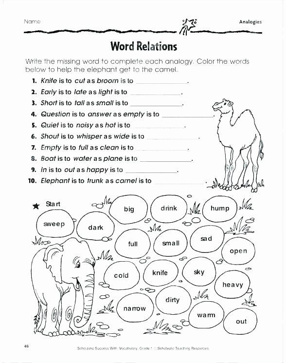 Analogy Worksheets for Middle School Analogy Worksheets for Middle School New Analogy Worksheets