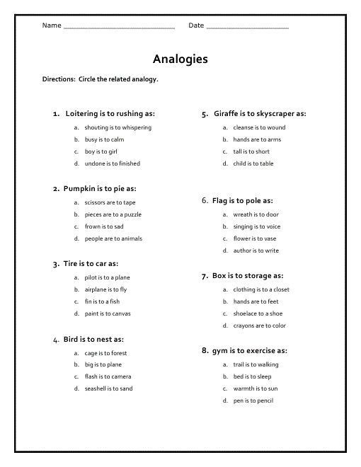 Analogy Worksheets for Middle School Free Analogy Worksheets for Middle School 001