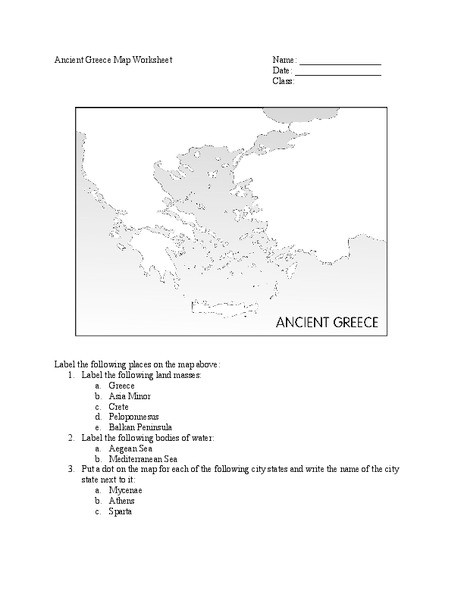 Ancient Greece Map Worksheet 28 [ Greece Geography Worksheet ]