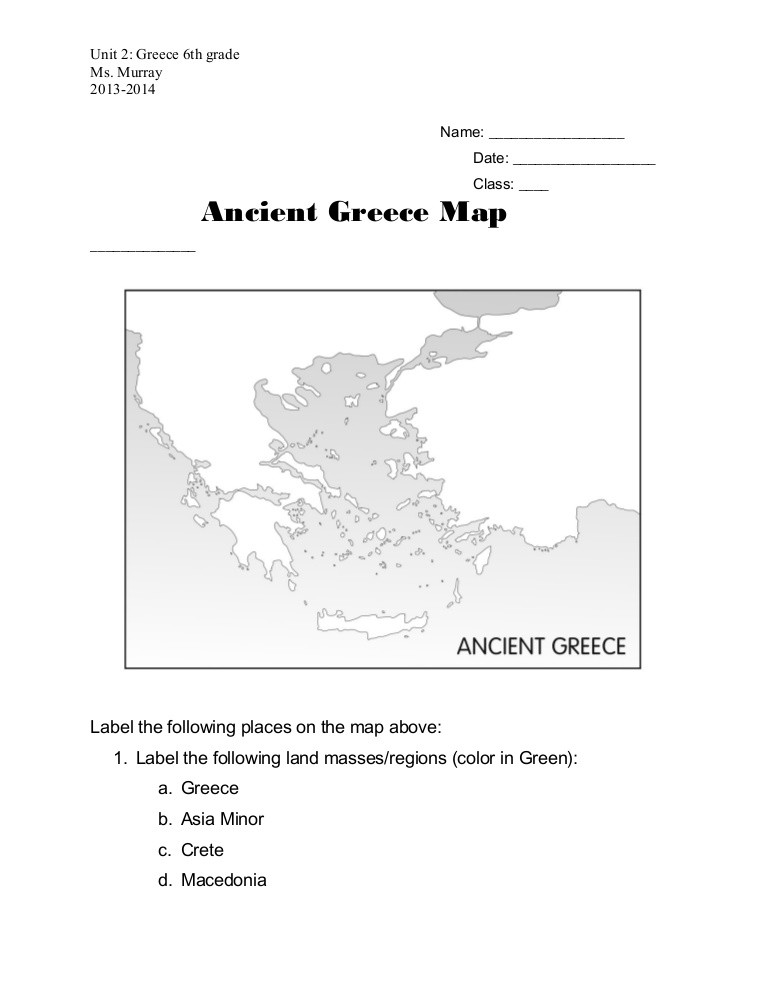 Ancient Greece Map Worksheet Ancient Greece Map Worksheet
