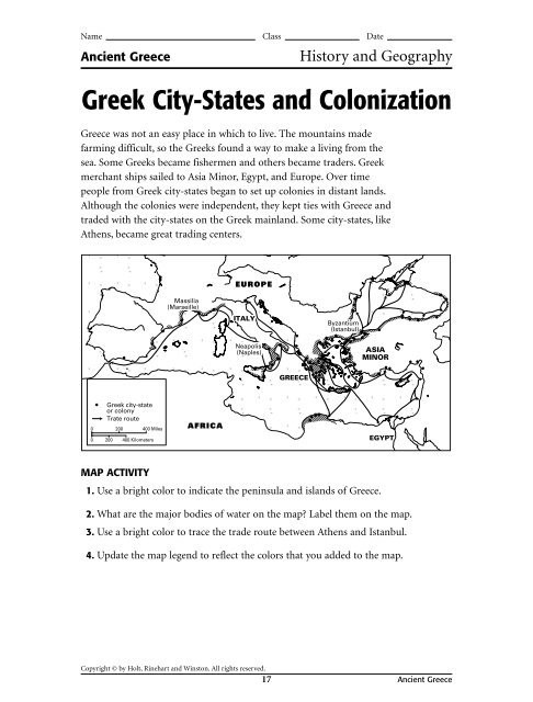 Ancient Greece Map Worksheet Greek City States and Colonization