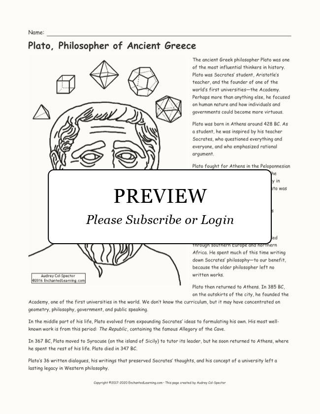 Ancient Greece Map Worksheet Plato Printout Enchanted Learning