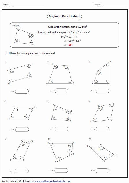 Angles Of Polygon Worksheet 50 Finding Missing Angles Worksheet In 2020