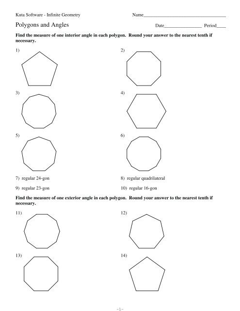 Angles Of Polygon Worksheet 6 1 Ws Only Polygons and Angles