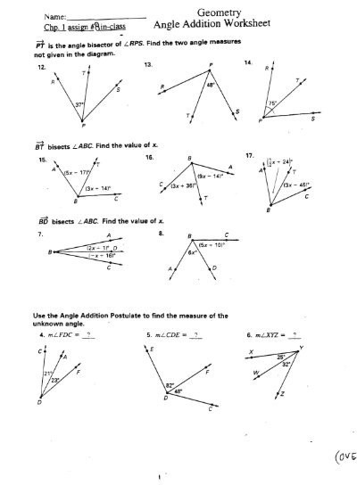 Angles Of Polygon Worksheet Geometry Angle Addition Worksheet