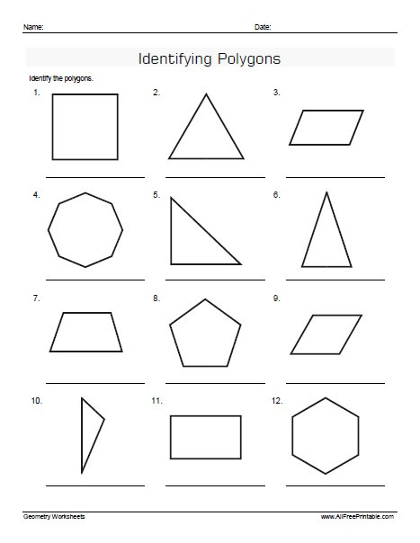 Angles Of Polygon Worksheet Identifying Polygons Worksheets Free Printable