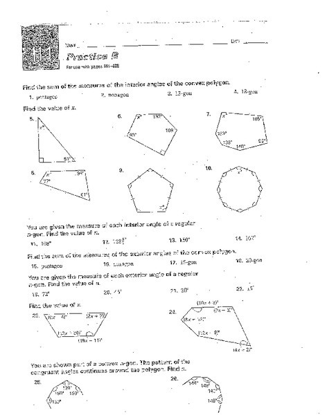 Angles Of Polygon Worksheet Interior and Exterior Angles Worksheet for 10th Grade