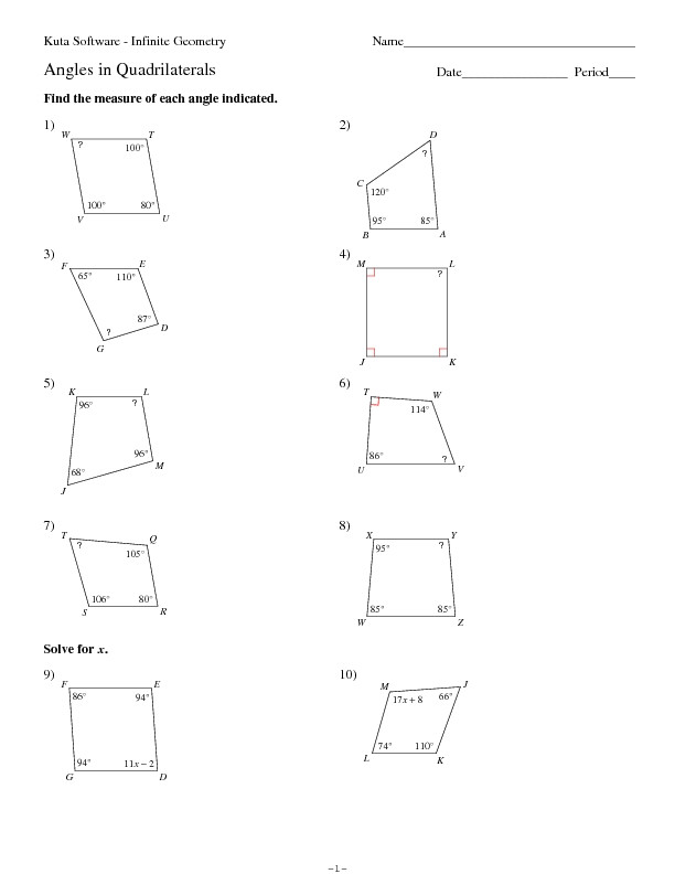 Angles Of Polygon Worksheet Kuta software Angles In Quadrilaterals Worksheet for 9th