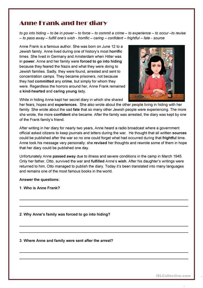 Anne Frank Worksheets Middle School Anne Frank and Her Diary In 2020