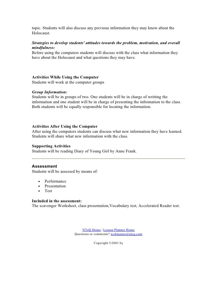 Anne Frank Worksheets Middle School Anne Frank Lesson Plan