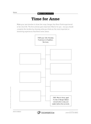 Anne Frank Worksheets Middle School Anne Frank Writing Activities
