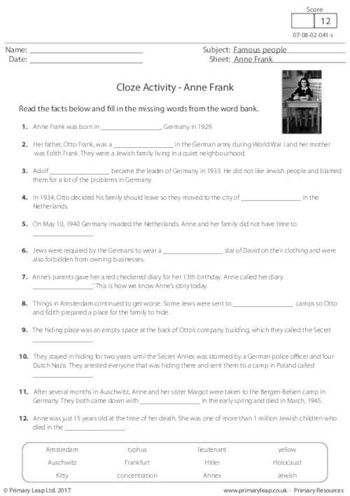 Anne Frank Worksheets Middle School Primaryleap Cloze Activity Anne Frank Worksheet