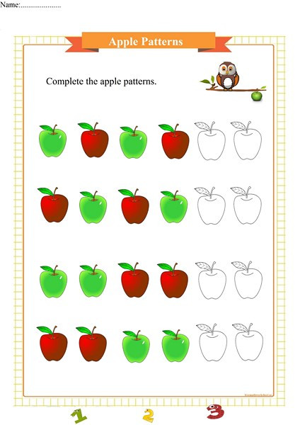 Apple Worksheets Preschool Apple Pattern Worksheet for Preschool Free Math Worksheets