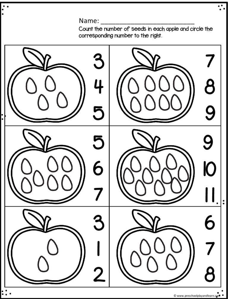Apple Worksheets Preschool Apple Worksheets for Preschoolers