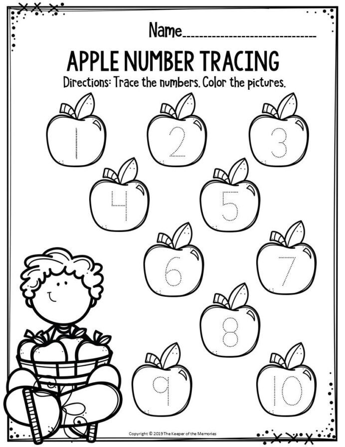 Apple Worksheets Preschool Preschool Worksheets Apple Number Tracing the Keeper