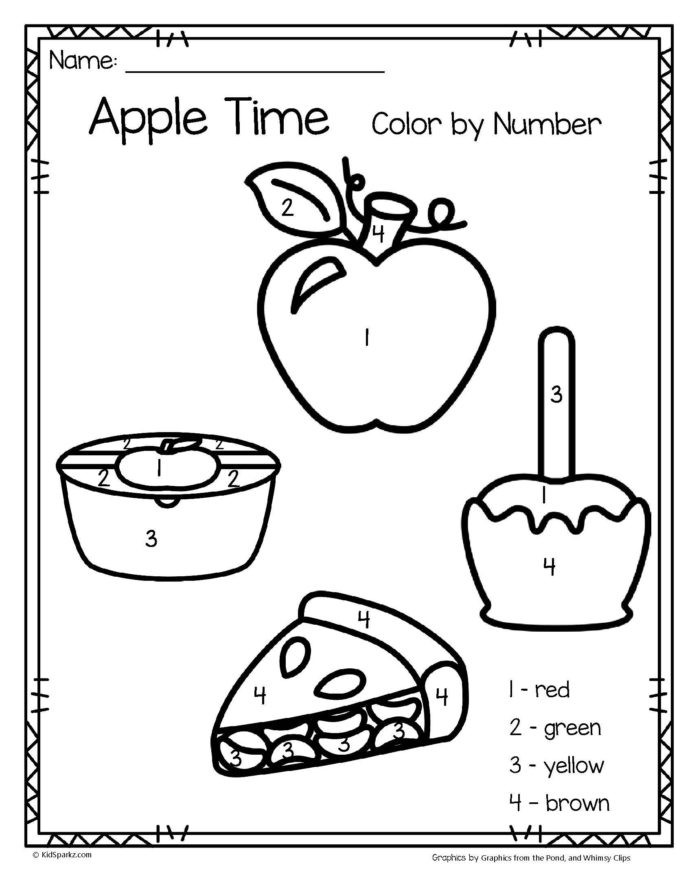 Apple Worksheets Preschool Printable Number Coloring for toddlers Pdf Worksheets