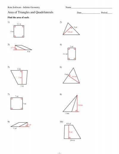 Area Of A Triangle Worksheet 6 area Of Triangles and Quadrilaterals Kuta software