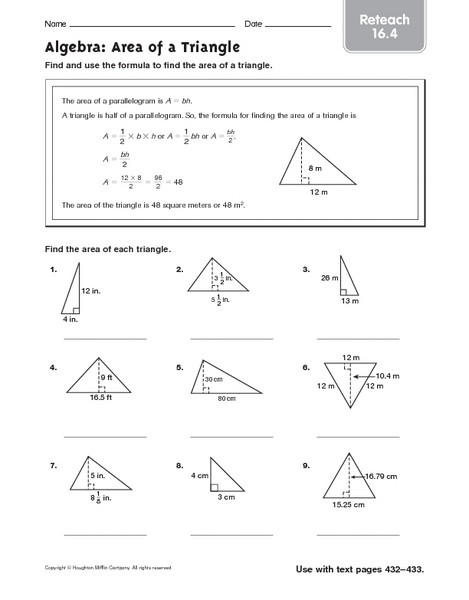 Area Of A Triangle Worksheet Algebra area Of A Triangle Reteach 16 4 Worksheet for 5th