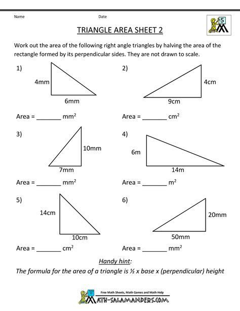 Area Of A Triangle Worksheet area Of Quadrilateral Worksheets