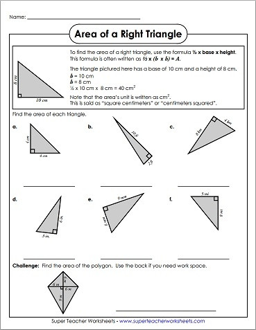 Area Of A Triangle Worksheet area Of Right Triangles