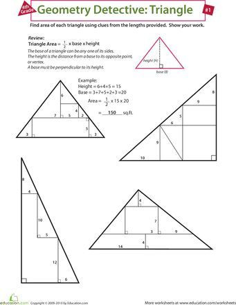 Area Of A Triangle Worksheet Find the area Of A Triangle