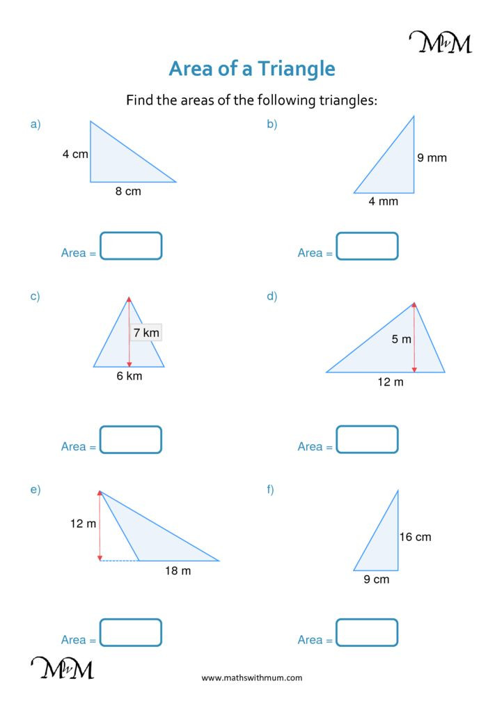 Area Of A Triangle Worksheet formula for Calculating Triangle area Maths with Mum