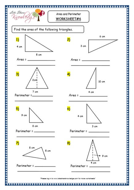 Area Of A Triangle Worksheet Grade 4 Maths Resources 8 3 Geometry area and Perimeter