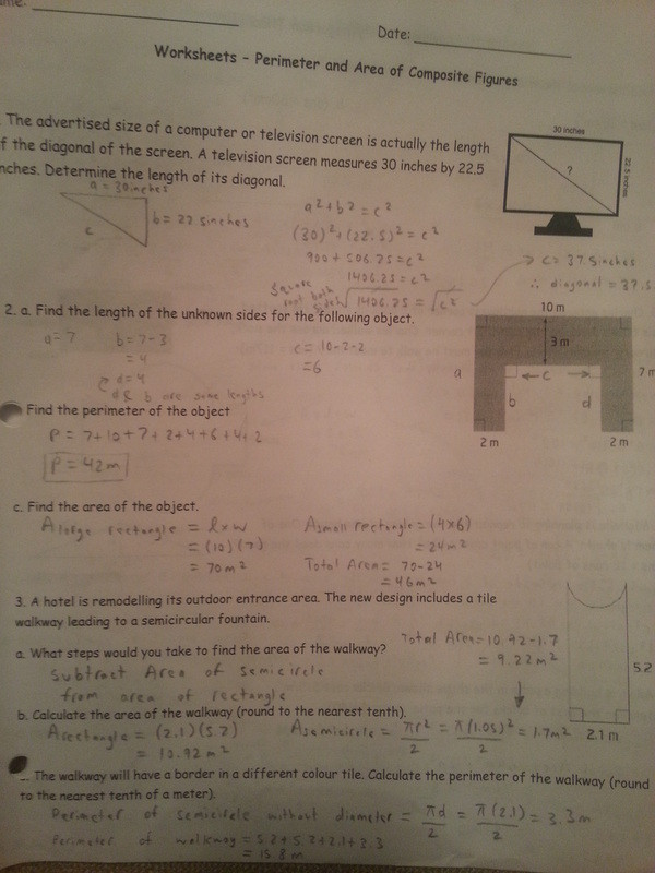 Area Of Composite Figures Worksheet 8 1 8 2 Perimeter and area Of Posite Figures Mr