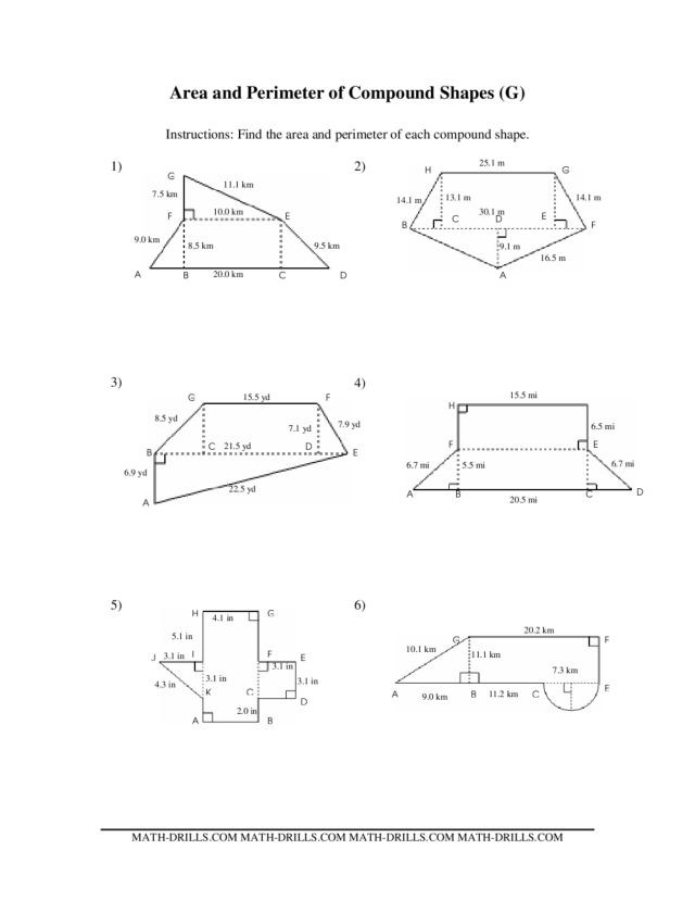 Area Of Composite Figures Worksheet area and Perimeter Of Pound Shapes Worksheet for 7th