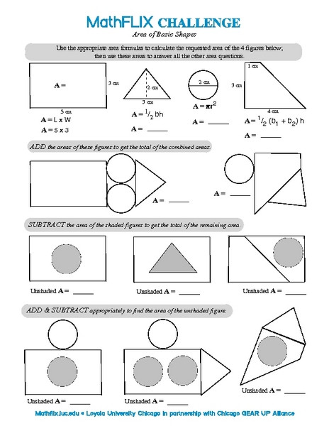 Area Of Composite Figures Worksheet Countdown Challenge area Of Basic Shapes Worksheet for 7th